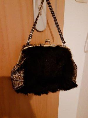 italienische Designer handtasche mit schwarzen echtfell