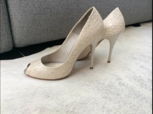 Imperial Peep Toe Pumps white-cream leather
