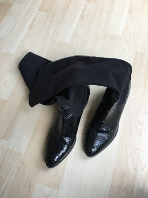 Italienische Designerstiefel schw.  Gr. 5 Leder und Stretch Vero Cuoio