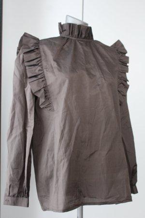 Italienische Langarm Bluse braun Gr. 42 M L´Equipe Seide steampunk viktorianisch