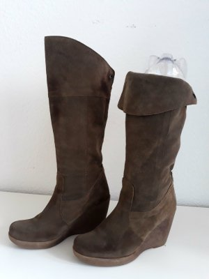 Platform Booties grey brown-light brown