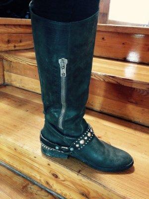 Italienische Leder-Stiefel mit Silberkette und Reissverschluss Slouch