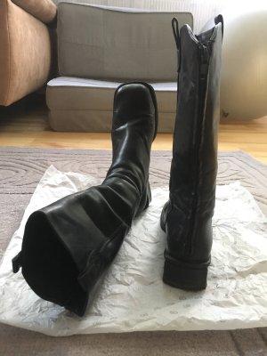 Botas estilo militar negro Cuero