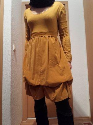 italienische Mode - gelb braunes extravagantes Kleid, Gr. 38