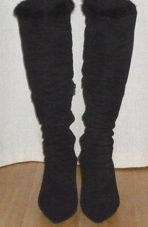 Fur Boots black suede