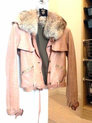 Italienische Pelz Leder Jacke