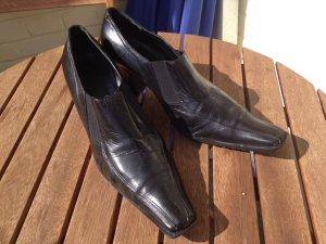 Italienische Pumps, schwarz, Echt Leder, Größe 41