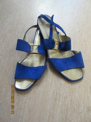 Sandales à lanière bleu daim