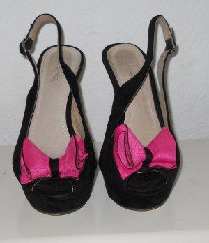 italienische Schuhe High Heels Pumps schwarz pink Schleife Gr 39 Samt Rockabilly