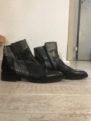 Donna Carolina Zipper Booties black-grey leather