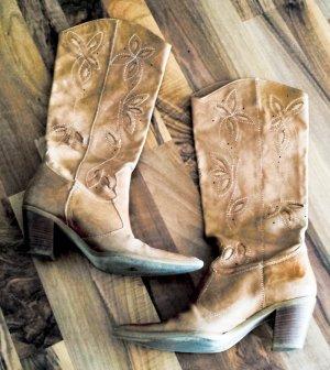 Italienische Westernstiefel mit aufwendigem Stanzmuster als Blüten Motiv aus echtem Leder, Größe 36, Absatz 6,5cm