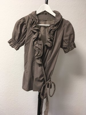 Wraparound Blouse grey brown cotton