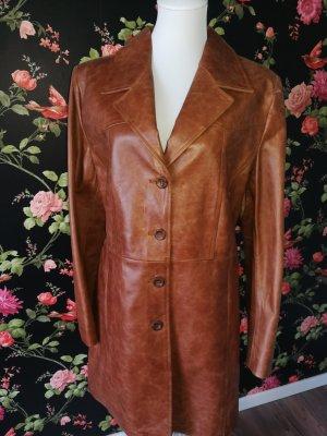 Manteau en cuir cognac