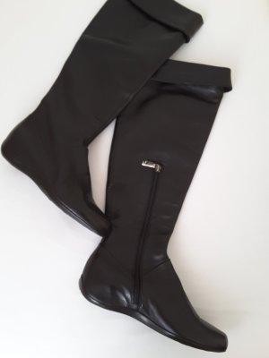 Italienischer Lederstiefel, schwarz, flach, hoher Schaft