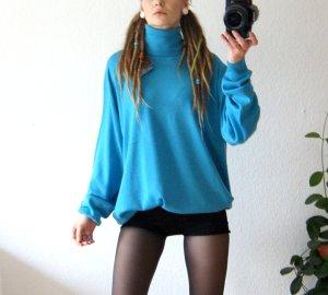 Italienischer vintage Wollpullover cyan, oversized Pullover Rollkragen Schurwolle, blogger cozy