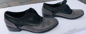 Slip-on Shoes black-silver-colored leather