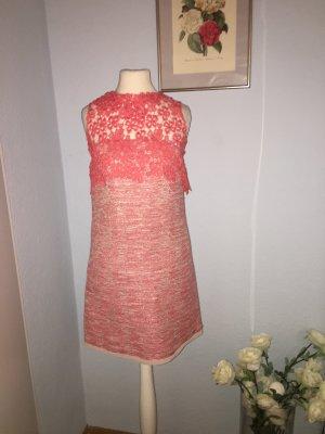 Italienisches dünnes Kleid aus Tweed und Spitze
