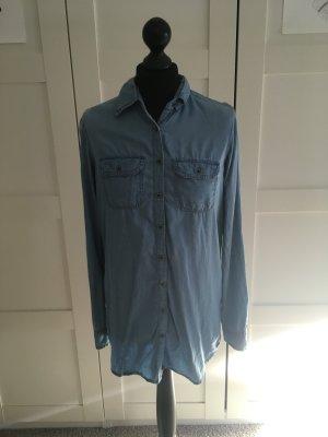 Camicia denim blu pallido-azzurro Tessuto misto