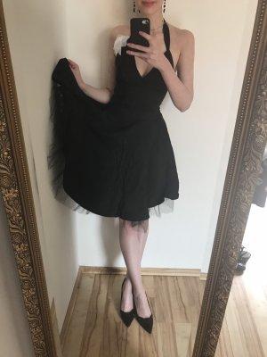 Italienisches Retro Neckholder-Kleid mit Netz-Unterrock