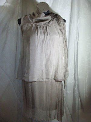Volante jurk grijs-bruin