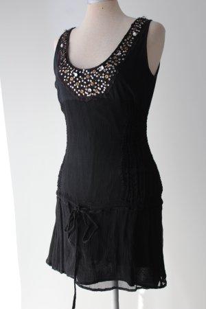 italienisches Seidentop Sommertop Oberteil Tunika ärmellos schwarz Minikleid mit Paletten Gr. XS 34