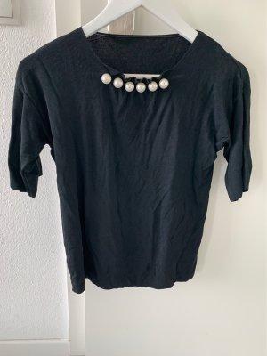 Geribd shirt zwart-wolwit