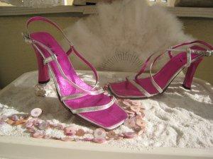 Italy Designer Vintage Luxus Sandaletten Metallic Violett  Himbeere & Silber NP 179 $