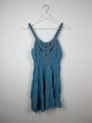 italy häkel tunika shirt oberteil M 40 blau indie hippie boho goa festival look