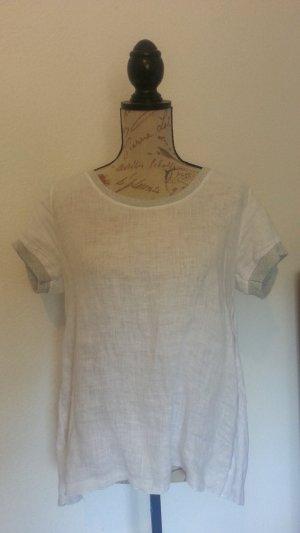 Italy Linnen blouse wit-lichtgrijs Linnen