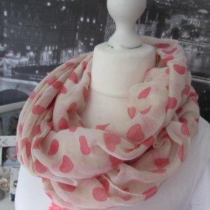ITALY * Traum Schlauchschal Loop * offwhite-pink HERZEN * NEU