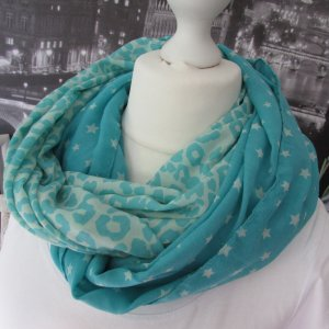 Made in Italy Écharpe tube turquoise-crème viscose