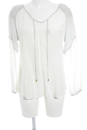 Ivi collection Blouse à enfiler gris clair-blanc cassé style décontracté