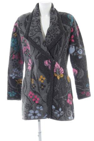 Ivko Gebreide jas lichtgrijs bloemenprint casual uitstraling