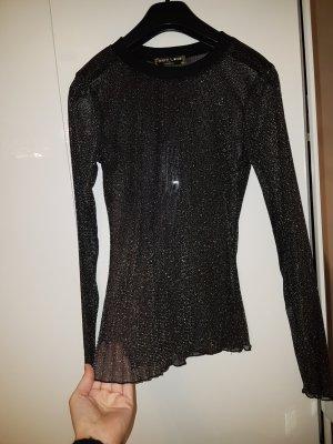 Transparante blouse zwart-goud
