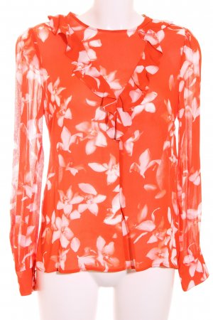 Ivy & Oak Rüschen-Bluse rot-weiß florales Muster Romantik-Look