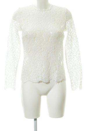 Ivy & Oak Blusa in merletto bianco motivo floreale stile lingerie
