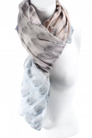 Ivy Schal himmelblau-altrosa Ornamentenmuster klassischer Stil