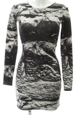 Ivyrevel Jerseykleid weiß-schwarz Batikmuster Boho-Look