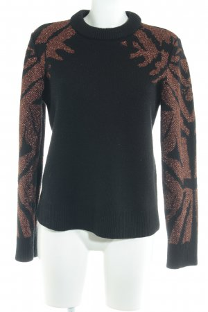 Ivyrevel Rundhalspullover schwarz-bronzefarben abstraktes Muster Casual-Look