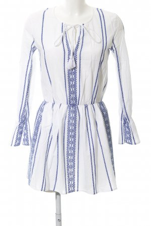 Ivyrevel Tunikakleid weiß-stahlblau abstraktes Muster Antik-Look