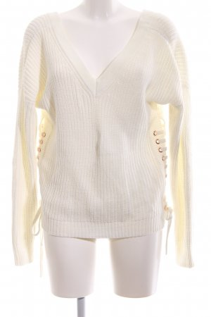 Ivyrevel V-Ausschnitt-Pullover creme Zopfmuster Casual-Look