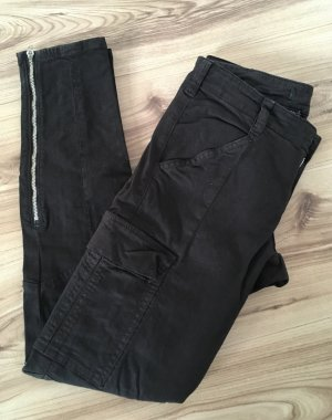 J Brand Biker Slim Fit Hose Schwarz XS 34 W25 Skinny Boyfriend Jeans Röhrenjeans Röhrenhose