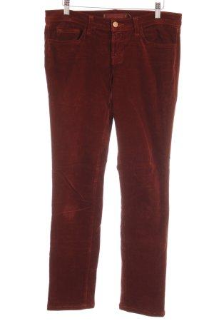 J brand Pantalone di velluto a coste bordeaux stile semplice