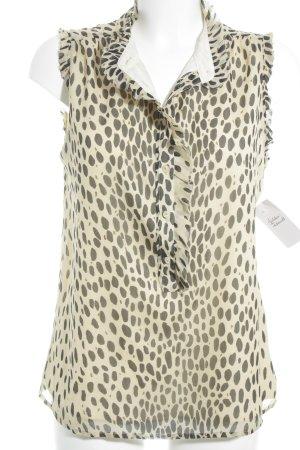 J.crew ärmellose Bluse beige-schwarz abstraktes Muster Business-Look