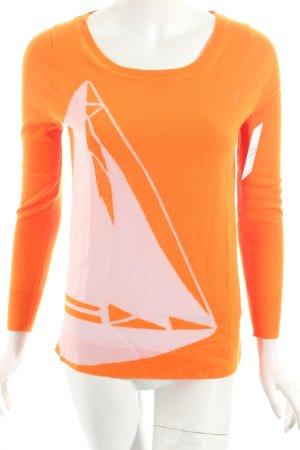 J.crew Cashmerepullover orange-weiß Casual-Look
