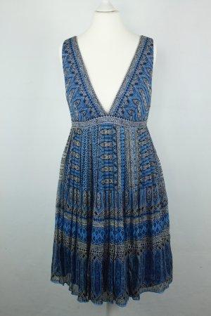 J. Crew Kleid Minikleid Seidenkleid Gr. US 4 / dt 34 blau schwarz weiß boho
