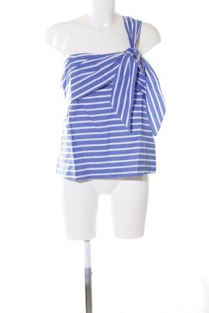 J.crew Camisa de un solo hombro azul-blanco estampado a rayas look casual