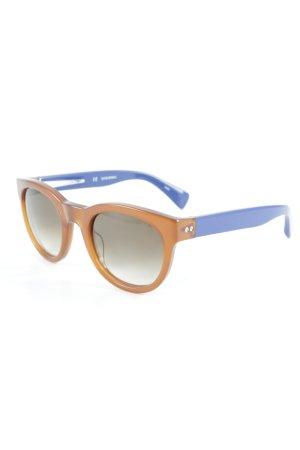 J.crew Ronde zonnebril cognac-blauw colour blocking klassieke stijl