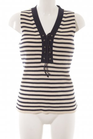 J.crew Knitted Top natural white-dark blue striped pattern casual look