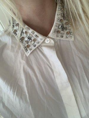 J Crew weiße Bluse mit verziertem Kragen Langarmbluse mit Steinen bestickt US4